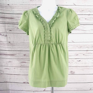Motherhood Maternity green ruffle short sleeve top